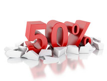 3d 50% icon on cracked surface Royalty Free Stock Photography