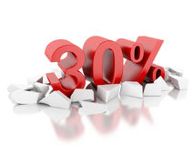 3d 30% icon on cracked surface Royalty Free Stock Photos