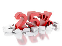 3d 25% icon on cracked surface Stock Photo