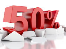 3d 50% icon on cracked surface Stock Photography