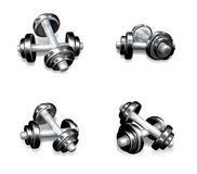 3D Icon dumbbells and barbells. 3D Icon Design Series. Stock Photo