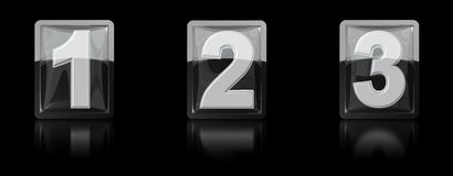 3d icon figures one, two ,three under glass Royalty Free Stock Images