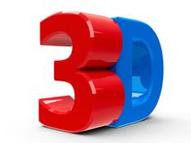 3D icon isometry. Red and blue 3D text symbol, icon or button isolated on white background, three-dimensional rendering Stock Photo