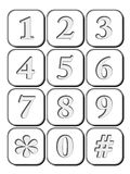 3d Icon Number engraved for Telephone Royalty Free Stock Images