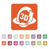 The 3d icon. Rotation arrow symbol. Flat Stock Photo