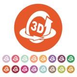 The 3d icon. Rotation arrow symbol. Flat Stock Photos