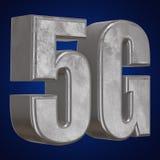 3D icona del metallo 5G sul blu Immagine Stock