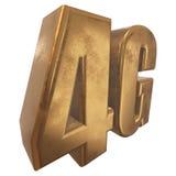 3D icona dell'oro 4G su bianco Fotografia Stock Libera da Diritti
