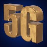 3D icona dell'oro 5G sul blu Fotografia Stock