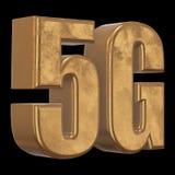3D icona dell'oro 5G sul nero Fotografia Stock Libera da Diritti