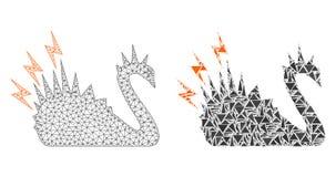 2D icona poligonale del mosaico e di Mesh Black Danger Swan illustrazione vettoriale