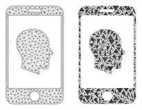 2D icona poligonale del mosaico e di Mesh Cellphone Profile illustrazione vettoriale