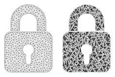 2D icona poligonale del mosaico e di Mesh Lock illustrazione vettoriale