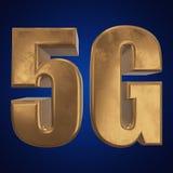3D icono del oro 5G en azul Fotos de archivo libres de regalías