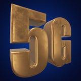 3D icono del oro 5G en azul Fotografía de archivo libre de regalías