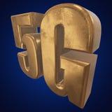 3D icono del oro 5G en azul Imagen de archivo libre de regalías