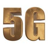 3D icono del oro 5G en blanco Foto de archivo