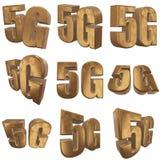 3D icono del oro 5G en blanco Imagen de archivo