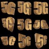 3D icono del oro 5G en negro Foto de archivo
