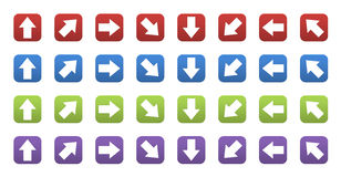 3D icons with arrows. Set of colored 3d icons with arrows Royalty Free Stock Image