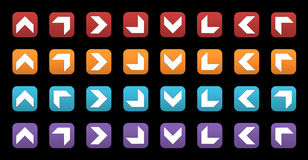 3D icons with arrows. Set of colored 3d icons with arrows Stock Photos