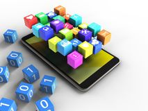 3d icons. 3d illustration of mobile phone over white background with binary cubes and icons Royalty Free Stock Photo
