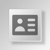 3D id card Button Icon Concept Royalty Free Stock Photo