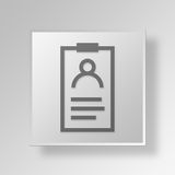 3D id card Button Icon Concept. 3D Symbol Gray Square id card Button Icon Concept Royalty Free Stock Photography