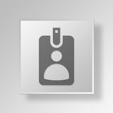 3D id card Button Icon Concept Stock Images