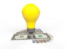 3d idea bulb and US dollars money Royalty Free Stock Photo