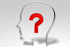 3D, idea, thinking, person, head, question mark Royalty Free Stock Image