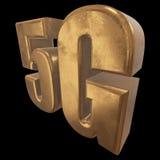 3D Ikone des Gold 5G auf Schwarzem Stockfoto