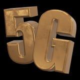 3D Ikone des Gold 5G auf Schwarzem Stockfotografie
