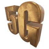 3D Ikone des Gold 5G auf Weiß Stockfotografie
