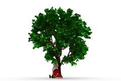 3d il Babbo Natale nell'ambito del concetto dell'albero Fotografia Stock Libera da Diritti