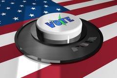 3D il bottone è bianco con la parola VOTO sui precedenti della bandiera americana royalty illustrazione gratis