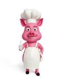 3d il cuoco unico Pig con i pollici su posa Fotografia Stock