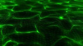3D il verde Wireframe scorrente ondeggia il fondo di moto di Loopable illustrazione vettoriale