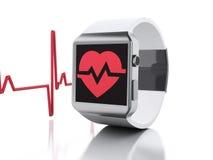 3d ilar klockan med den röda vård- symbolen stock illustrationer