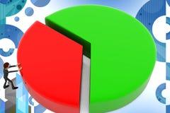3d illstration van de bedrijfsmensen cirkelgrafiek Stock Afbeelding