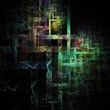 3D a illuminé les lignes abstraites art numérique futuriste de courbes rougeoyantes illustration de vecteur
