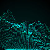3D illuminated abstract digital wave. Of glowing particles and wireframe. Futuristic vector illustration. HUD element. Technology concept. Abstract background Stock Image