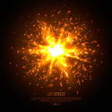 3D illuminated abstract explosion, glowing particles. Royalty Free Stock Photo