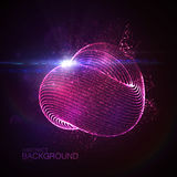 3D illuminated loop shape. Of glowing particles, wireframe and flare lens optical light effect. Futuristic vector illustration. Science or technology concept Royalty Free Stock Photo