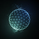3D illuminated sphere of glowing particles Stock Images