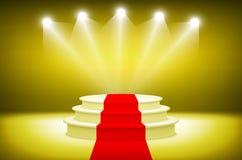 3d Illuminated stage podium for award ceremony vector illustration. Art Royalty Free Stock Photos