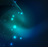 3D illuminated wave of glowing particles Stock Images