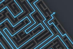 3d illusrated Labyrinth lokalisiert auf dunklem Hintergrund Veranschaulichung 3D Stock Abbildung