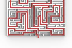3d illusrated Labyrinth lokalisiert auf weißem Hintergrund Veranschaulichung 3D Vektor Abbildung