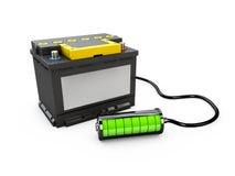 3d Illusration do poder da fonte elétrica das peças de automóvel do carro do acumulador de bateria Imagem de Stock